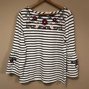 J. Crew striped shirt w/ embroidery & bell sleeves